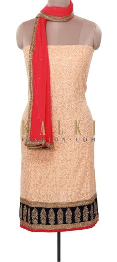 Buy Online from the link below. We ship worldwide (Free Shipping over US$100). Product SKU - 316063. Product Price - $279.00. Product Link - http://www.kalkifashion.com/peach-unstitched-suit-enhanced-in-thread-and-kardana-embroidery-only-on-kalki.html