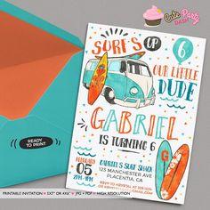 Surf's Up Birthday Photo invitation Surf Birthday by CutePartyDash