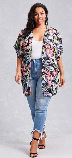 Plus Size Tropical Print Kimono