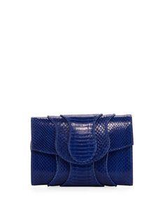 V3GN3 Khirma Jolie Snakeskin Flap Clutch Bag, Blue