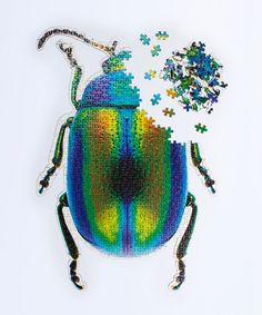 Contemporary creative puzzle shaped as a beetle. It includes over 500 pieces and two sets of adhesive sheets that enable you to stick the pieces of puzzle together and frame it as a piece of art. Quirky Gifts, Unique Gifts, Interactive Poster, Common Birds, Frame It, Michelangelo, Beetle, Bald Eagle, Dream Catcher
