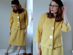 Vintage Made for a Queen Suit // 1950's Yellow Skirt Suit // Vogue Paris Original Skirt and Jacket with Oversize Buttons // Mod Set Size L