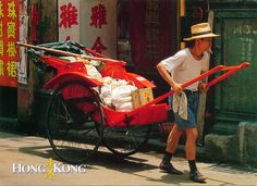 CHINA (Hong Kong) - A man with a rickshaw