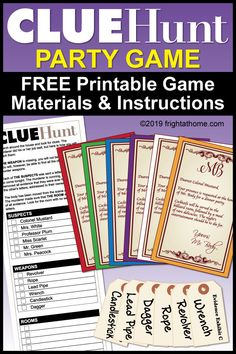CLUE Hunt Party Game with instructions and FREE printable game materials. Perfect welcome activity for Halloween parties or game nights. Mystery Dinner Party, Dinner Party Games, Mystery Parties, Murder Mystery Games, Mystery Games For Kids, Mystery Novels, Murder Mysteries, Cozy Mysteries, Clue Themed Parties