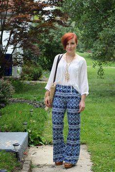 Thrift and Shout: Cute Outfit of the Day: Printed Palazzo Pants from Kohl's, summer fashion, red hair, asymmetrical haircut, udercut, tribal print, bohemian, Target platform sandals, Forever 21 bracelet, thrifting, thrift shopping, thrift store