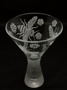 Etched Martini Glass made for Asher Gallery's Martini Madness Fund Raiser by Andre & Virginia Bally