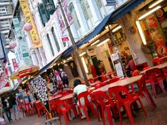 chinatown market Singapore - hot hazy day - had to have a Tiger Beer ( again )