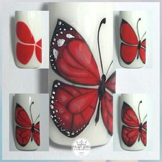 50 Trendy Fails Art Tutorial Step By Step Nailart Butterfly Nail Designs, Hot Nail Designs, Butterfly Nail Art, Nail Art Designs Videos, Simple Nail Art Designs, Beautiful Nail Designs, Beautiful Nail Art, Simple Butterfly, Nail Art Hacks