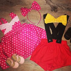Minnie and Mickey Mouse Outfit Little Man, Little Ones, Mickey Mouse Outfit, Handmade Clothes, Stylish Outfits, Boy Or Girl, Rompers, Lady, Swimwear