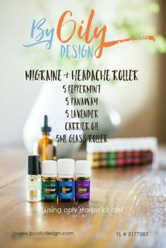 Migraine and headache blend with essential oils