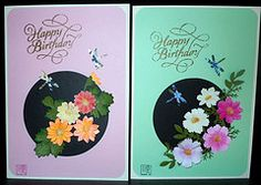 Paper Greeting Card 3 Photos | Paper Punch Flowers and Origami Cosmos | 917