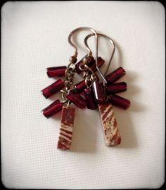 Zebra jasper and garnet cluster earrings  silver by anikojewelry, $14.00