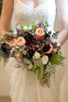 Cozy sweaters and half-length coats look chic with any wedding gown and create opportunity for stunning winter wedding bouquets. Burgundy Wedding Flowers, Floral Wedding, Wedding Colors, Woodland Wedding, Farm Wedding, Dream Wedding, Winter Bridal Bouquets, Wedding Bouquets, Silk Flower Centerpieces