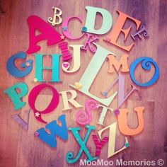 ALPHABET - Mixed Unisex rainbow Wooden Alphabet letter Set - perfect for any nursery. All our wooden alphabets are hand painted to your specifications & we can colour match. Order here: www.moomoo-memories.co.uk