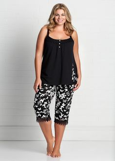 Fashion Plus Size - Large Size Womens Clothes, Tops & Dresses | Fashionable Plus Size Clothes - BUTTERFLY PJ SET - Virtu