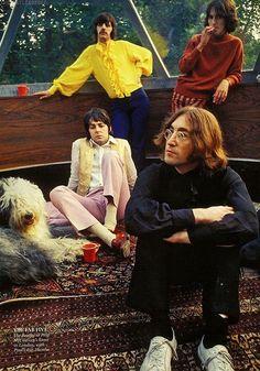 Richard Ringo Starkey, George Harrison, Paul McCartney & Martha, and John Lennon.