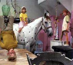Pippi Longstocking and Annika, Tommy.