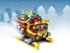 Steampunk sleigh, on Christmas day Lego Christmas Village, Lego Winter Village, Lego Jokes, Legos, Bowser, Steampunk, Toys, Happy, Art