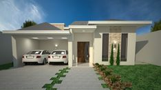 Casa Projeto de casa com 3 quartos, sendo 3 suítes, 3 banheiros, 2 vagas na garagem e fachada no estilo americano. Beautiful House Plans, Dream House Plans, Modern House Plans, My Dream Home, Beautiful Homes, Simple House Design, Modern House Design, House Front, My House