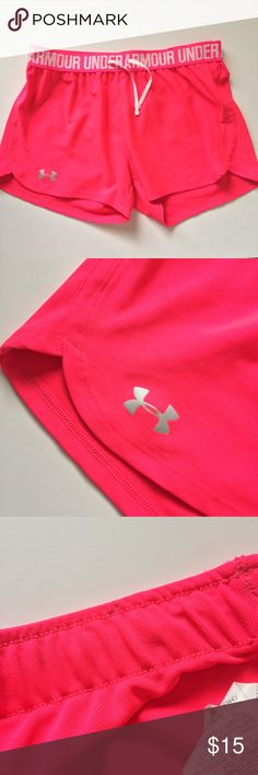 Under armour pink workout shorts Waistband is a little dirty. Last photo best represents color. 3in inseam Under Armour Shorts