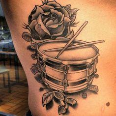 New Ideas Music Tattoo Drums Drummers Dad Tattoos, Music Tattoos, Rose Tattoos, Body Art Tattoos, Sleeve Tattoos, Tatoos, Drum Stick Tattoo, Drum Tattoo, Guitar Tattoo