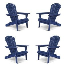 4pc Oceanic Adirondack Chairs - Navy Blue - W Unlimited : Target Outdoor Seating, Outdoor Chairs, Wood Adirondack Chairs, Navy Paint, Beach Cottage Decor, Backyard Patio, Backyard Ideas, Patio Design, Ocean