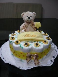 "Diaper {Teddy bear cake}: Never have too many diapers for twins! ""D"" Gram one layer diaper cake"
