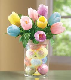 Lighted Floral Easter Tulips in Glass Vase