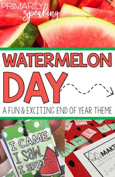 End of year theme days are a great way to keep students engaged in meaningful learning.  A watermelon day is sure to be a hit with your students.  I love the fun freebie included in the post!