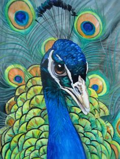 "Contemporary Painting - ""Pretty as a Peacock"" (Original Art from Judy Nunno). Watercolor"