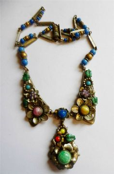 Art Deco Czech Flower Enamel Glass Stone Beads Drop Necklace