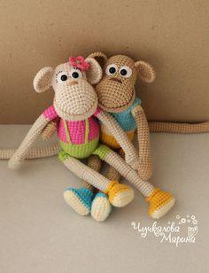 Купить Мастер-класс Обезьянка в кедах - бежевый, описание игрушки, игрушка крючком, обезьяна, обезьянка