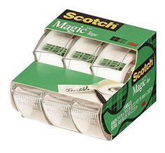 Scotch Magic Tape 3105, 3/4 x 300 Inches, Pack of 3 Scotch
