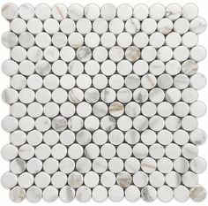 Powder Room/Master Bath Floor- Calacatta Gold Honed Penny Round Marble Mosaic Tile