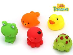 Little Treasures Bath Toys for infants of age 18 months a set of five sea squirts bath toys enjoy playing with sea creatures in your bath tub full of soap an foam ** You can find out more details at the link of the image.Note:It is affiliate link to Amazon.