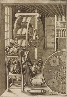 Book-browsing wheel invented by Agostino Ramelli in 1588 (Italian inventors rock!)