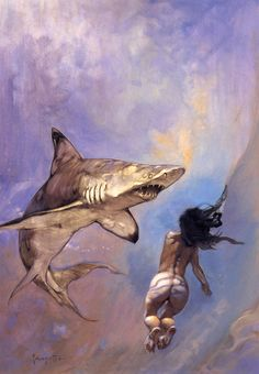 """A Requiem For Sharks"" - Frank Frazetta"