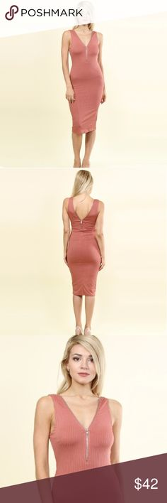😍JUST IN😍 zip detail bodycon dress ♡♡♡♡♡♡♡♡♡♡♡♡♡♡ NEW ITEM IN MY BOUTIQUE  ♡♡♡♡♡♡♡♡♡♡♡♡♡♡  Stretchy rib knit knee-length bodycon dress  Adjustable working zipper  in the front and in the back   Fully lined   COLOR : Dusty rose     Available in various sizes Dresses