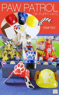 DIY Paw Patrol Puppy Hats.  Perfect Paw Patrol Party Favors!  | Paw Patrol Party Ideas Your Kids Will LOVE! | http://soiree-eventdesign.com