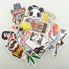 StillCool® 50pcs 100pcs shifashionshop Aufkleber für Skateboard Snowboard-Weinlese-Vinylaufkleber-Graffiti Laptop Gepäck Auto-Fahrrad-Decals mischen Lot Art- und Weisekühler (100pcs)