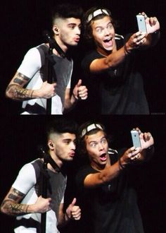 Zayn Malik and Harry Styles. I would die to have Zarry take a picture with my phone.