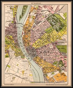 Budapest térképe 1894 Old Maps, Antique Maps, Planning Maps, Hungary Travel, Travel Maps, Water Lilies, Old Photos, City Photo, Vintage World Maps