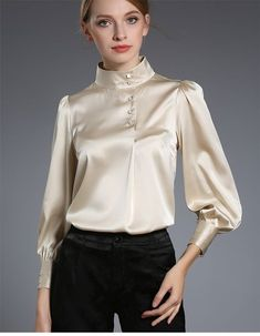 Silk blouse silk and satin шёлковые блузки, блузки, одежда Blouse Sexy, Blouse And Skirt, Blouse Outfit, Satin Bluse, Blouse Designs Silk, Beautiful Blouses, Elegant Outfit, Mode Style, Chiffon