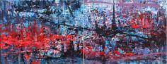 "Saatchi Art Artist Tanya Vasilenko; Painting, ""Parallel worlds, diptych, both parts"" 70 H x 180 W x 3 cm  #art Please, feel free to contact me. More at: https://www.facebook.com/artisttanyavasilenko/photos_stream?tab=photos_albums"