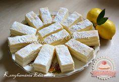 Régimódi citromszelet – Ez Nem Semmi Feta, Camembert Cheese, Party Time, Deserts, Lemon, Dairy, Food And Drink, Cooking Recipes, Sweets
