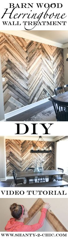 Build this Reclaimed Barn Wood Herringbone Wall Treatment with the easy-to-follow video tutorial from www.shanty-2-chic.com ! This barn wood is from Reclaimed DesignWorks. It has been cleaned and milled, bug and mold-free, tested for lead-based paint, packaged in bundles and ready to use in your home! It's the perfect barn wood for wall treatments and furniture building!