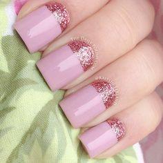 french nails with gold Nailart Nail Art Designs 2016, French Nail Designs, Pretty Nail Designs, Best Acrylic Nails, Acrylic Nail Art, Acrylic Nail Designs, Glitter French Manicure, Glitter Nails, Pink Glitter