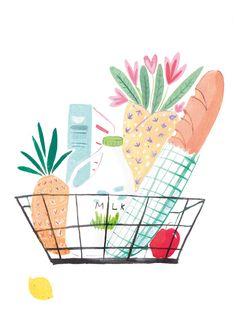 Shopping basket - Mia Dunton Illustration www.miaduntonillustration.co.uk