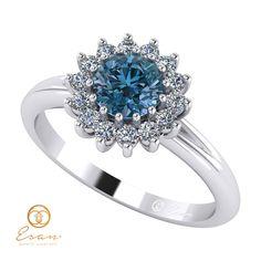 Inel de logodna din aur cu diamant albastru si diamante ES66