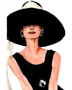 Holly Golightly %7BBreakfast at Tiffany's, Holly Golightly, Audrey Hepburn%7D Fashion Illustration Art Print